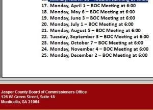 BOC meeting calendar