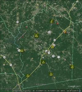 Jasper County Cell Tower Sites Map 2013 Proposed & Existing