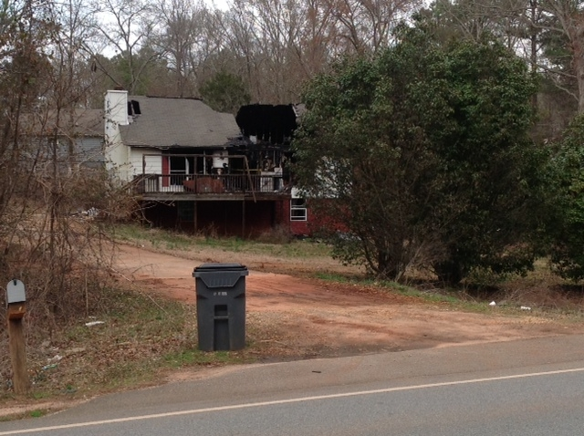 Burned out house on 212
