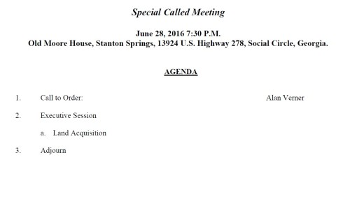 AGENDA.JDA special called meeting 06.28.16 Land Acquistion